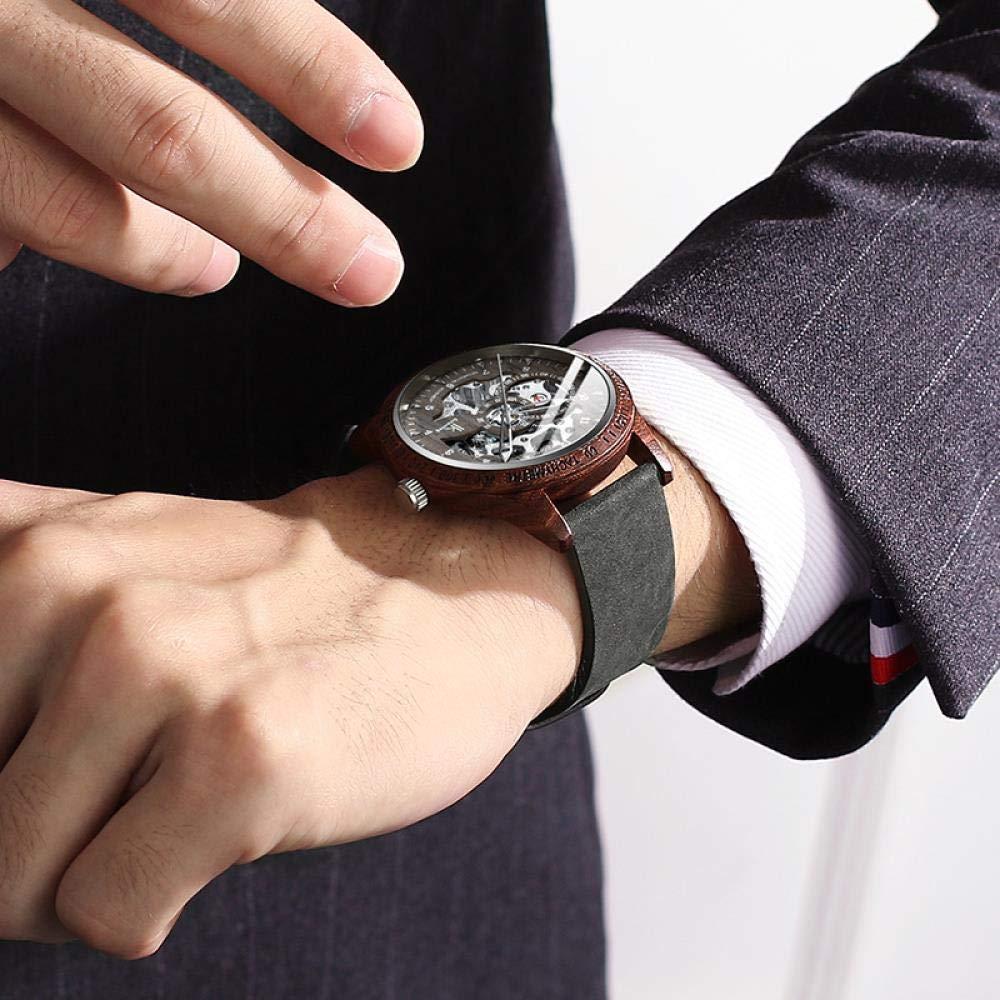 Herrklockor, automatisk mekanisk klocka träskal mode lysande vattentät ihålig klocka O