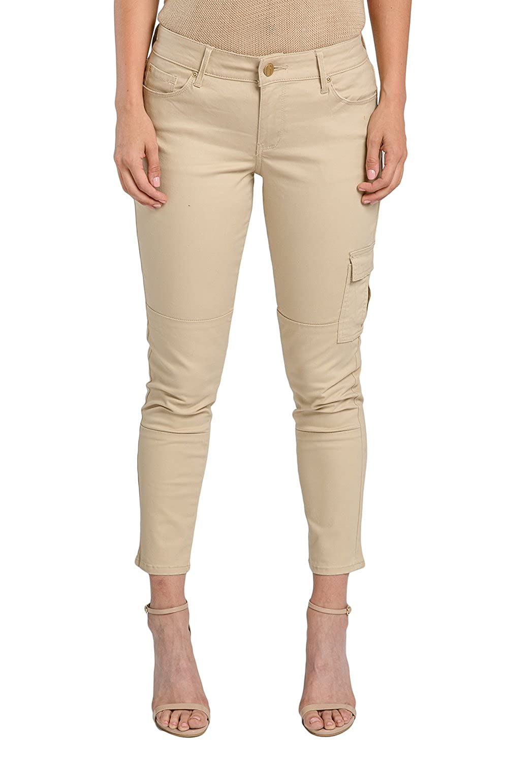 Miss Halladay Women Chino Twill Khaki 5 Pocket Skinny Cargo Pants Ankle  Length at Amazon Women s Clothing store  df803b6e2