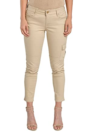 96722698368 Miss Halladay Women s Khaki Stretch Twill Cargo Skinny Croped Jeans Ankle  Length Size 6