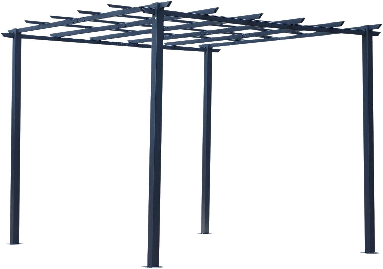 Outsunny Pérgola para Jardín Soporte para Enredaderas 3x3x2.3m Pérgola de Flores de Hierro Pérgola para Enredaderas Color Negro