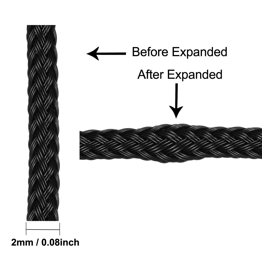 uxcell 3 Meters PET Sleeving Expandable Braided 9.84ft 4mm Dia Cable Management Sleeve Cord Organizer Black