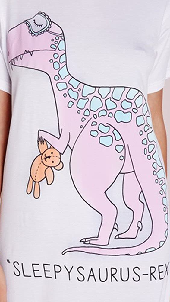 Amazon.com: Ownstyle Womens Sleepy Saurus Rex Top Funny Graphic Dinosaur T-Shirt Dress: Clothing