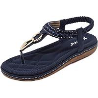 Somic Mujer Sandalias Planas Bohemia Sandalias Casuales Zapatos de Playa Sandalias Verano Cómodo Elegantes Senderismo