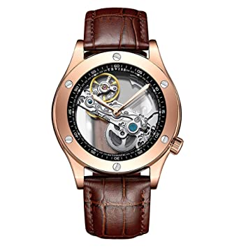 Gskj Reloj de Hombre Relojes mecanicos Completamente automatico Metal Moda Hueco Reloj de Negocios Luminoso Impermeable Lujo Reloj multifuncion,E: ...