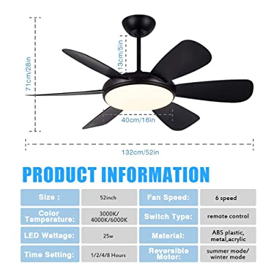 Buy 52ceiling Fan With Light And Remote Control Black Flush Mount Ceiling Fan Light With Remote Control 3 Color Light 6 Reversible Blades 6 Adjustable Speed 4 Typ Timing For Living
