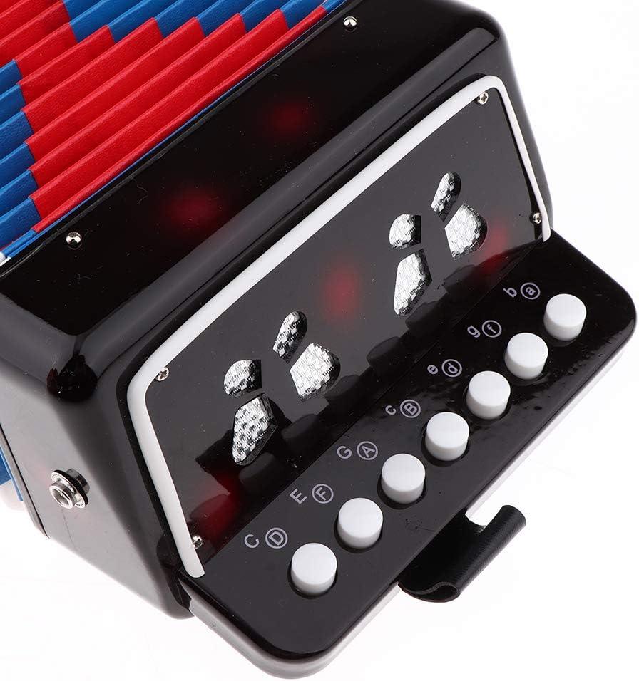Acorde/ón con 7 Teclas y 3 Botones Mini Teclado Ritmo para Desarrollar Talento de Musical para Ni/ños Negro