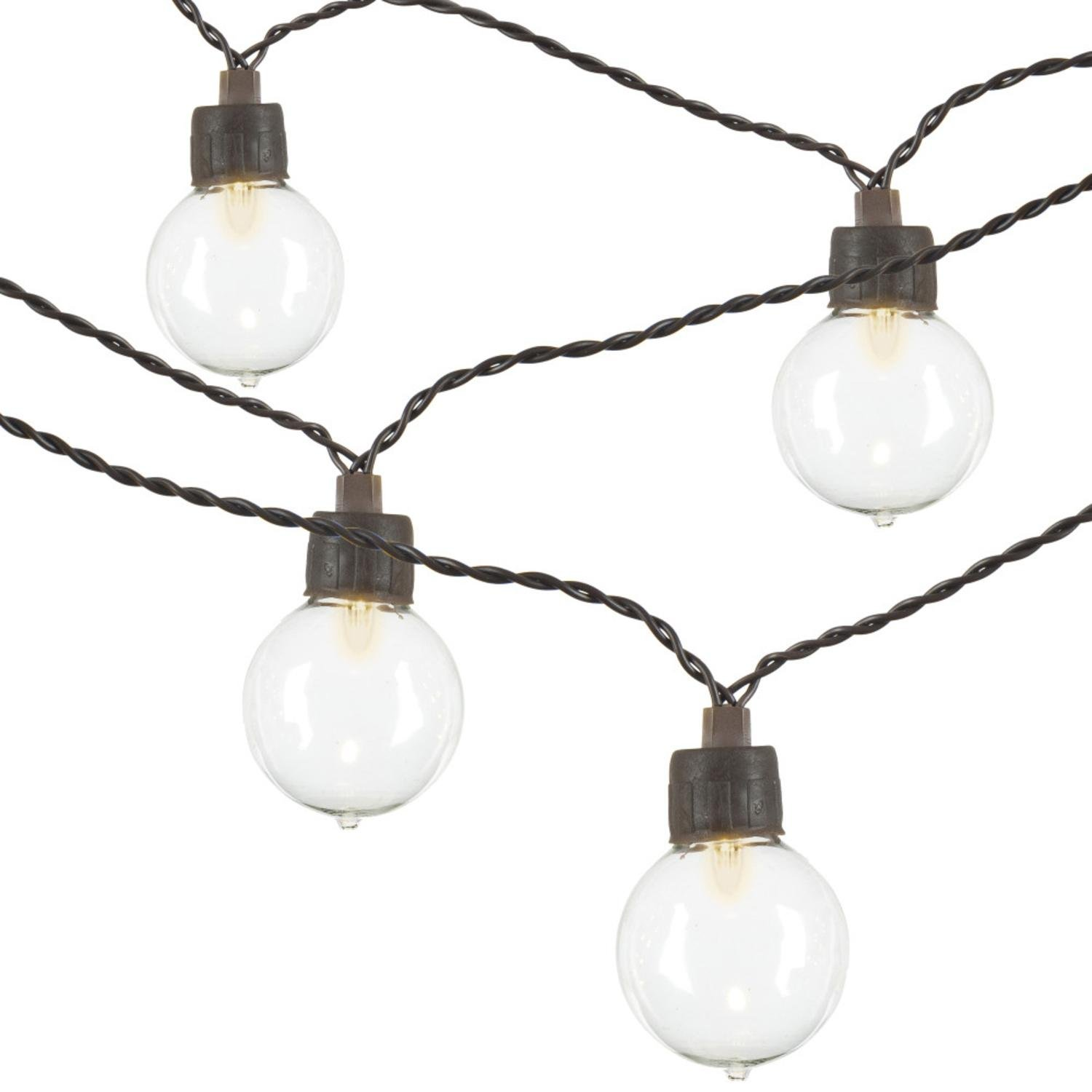 Diva At Home Club Pack of 20 Warm White Solar G40 String Light Bulbs with Brown Wire 12'