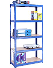 150cm x 75cm x 30cm, Blue 5 Tier (175KG Per Shelf), 875KG Capacity Garage Shed Storage Shelving Units, 5 Year Warranty