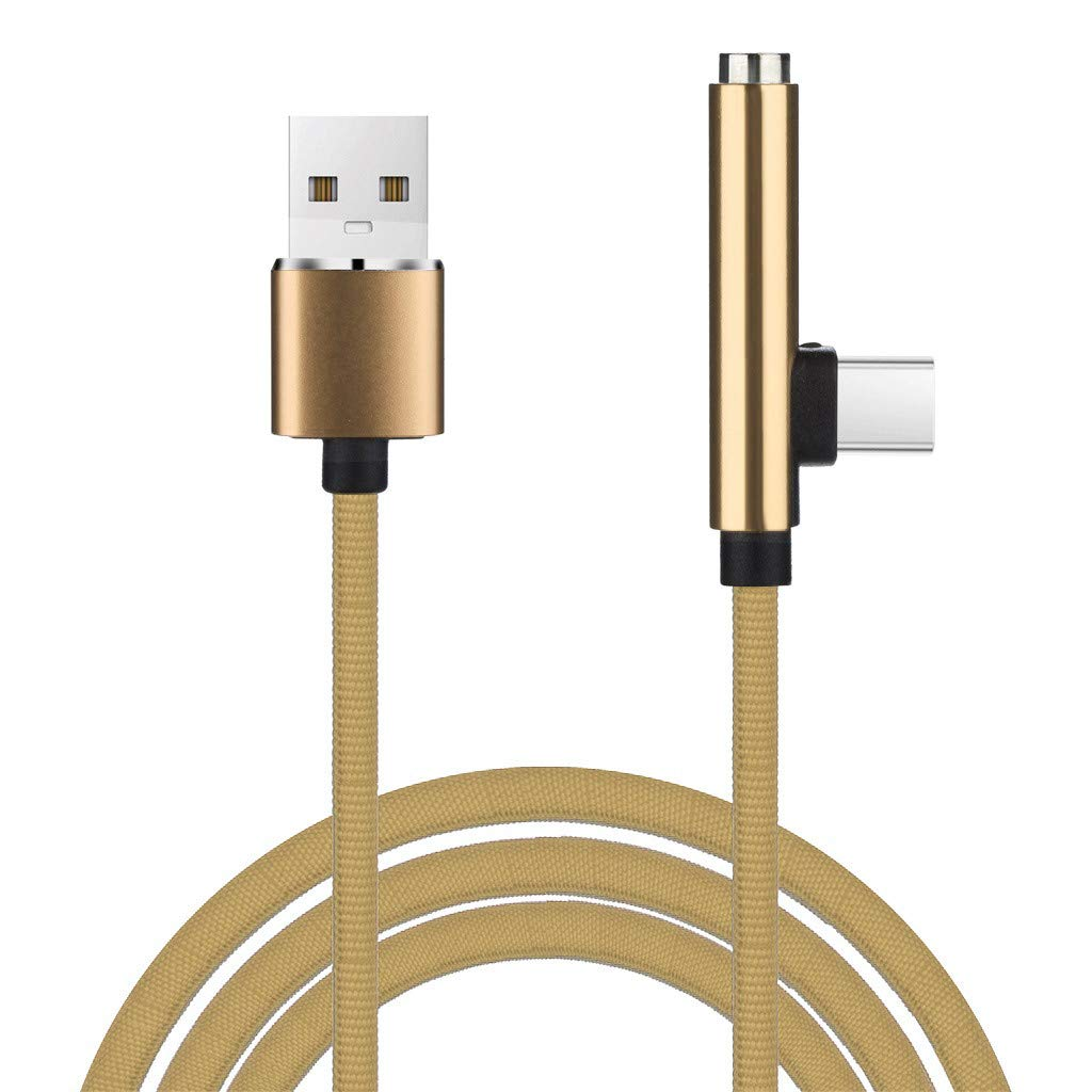 YRD TECH Type-C 3.5mm Adapter, New 2-in-1 Type C to 3.5mm+Charger Headphone Audio Jack USB C Cable Adapter 1M (Gold)