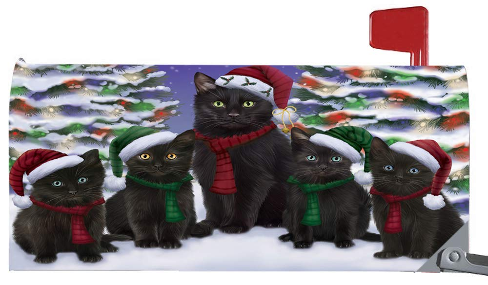 Doggie of the Day Magnetic Mailbox Cover Black Cats Christmas Family Portrait in Holiday Scenic Background MBC48202