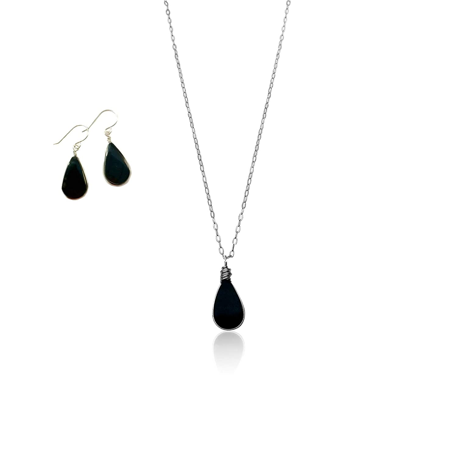 RUMI SUMAQ Black Obsidian Stone Necklace and Earring Set for Women: Dainty Sterling Silver Jewelry Gift Set