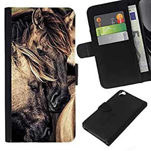 KingStore / Leather Etui en cuir / HTC Desire 820 / Amour Cheval Étalon Mustang
