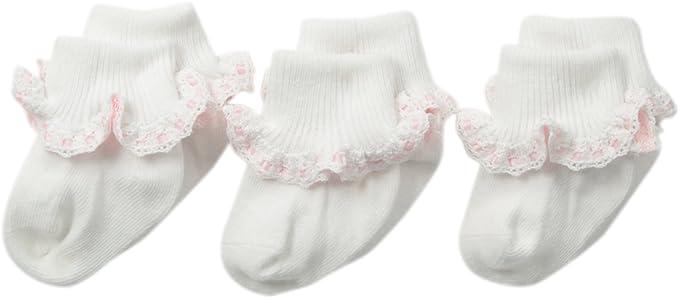Jefferies Socks Girls Little Satin Ribbon Lace Sock