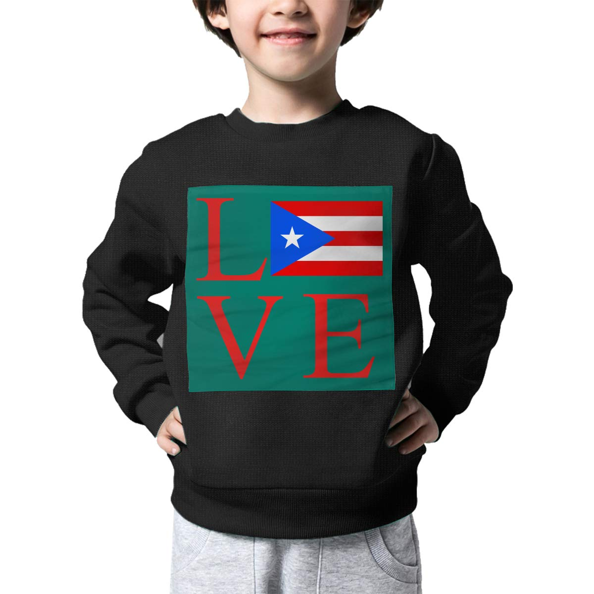 Love Puerto Rico Flag Print Baby Boys Childrens Crew Neck Sweater Long Sleeve Soft Knit Top Blouse