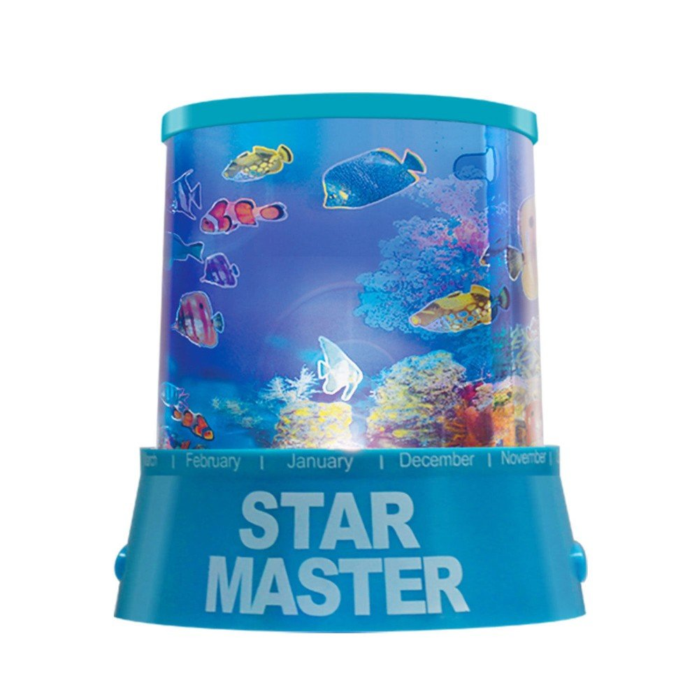 Blue Children LED Underwater World Projection Lamp Projector Night Light Kids GIF