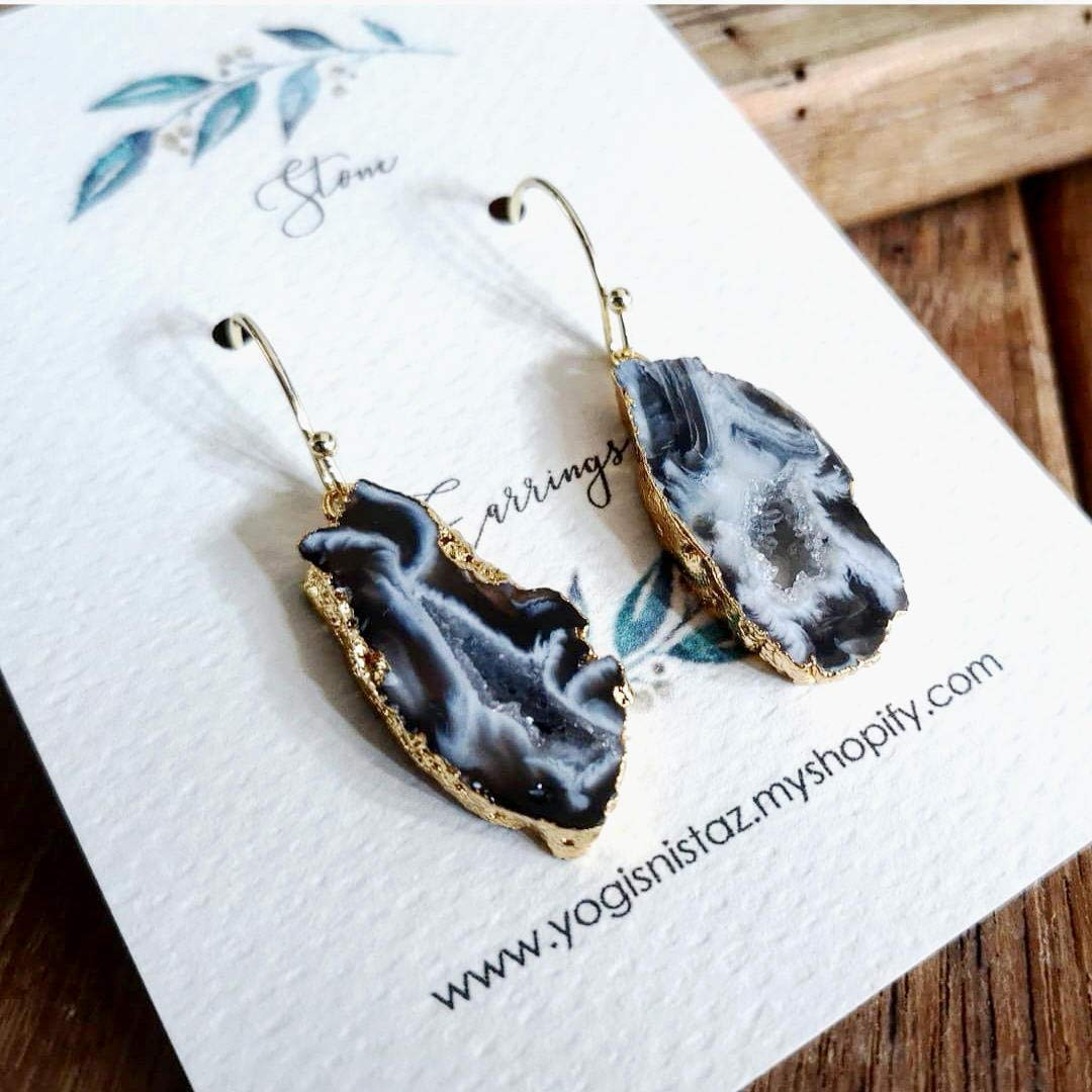 DIY Earrings DIY Jewelry Connectors Natural Geode Slice Silver Plated Earrings Pairs Connectors Silver Electroplated Earrings Components