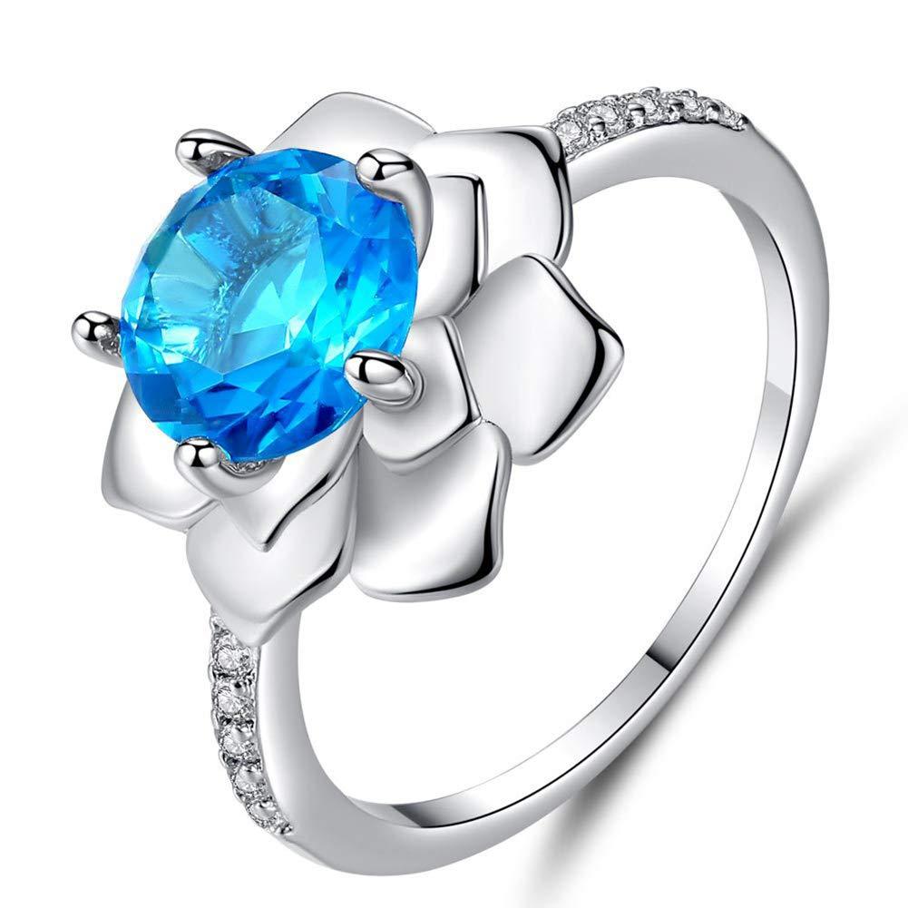 Gaweb Elegant Shiny CZ Cubic Zirconia Flower Slim Finger Ring Women Xmas Gift Jewelry - Sea Blue US 6