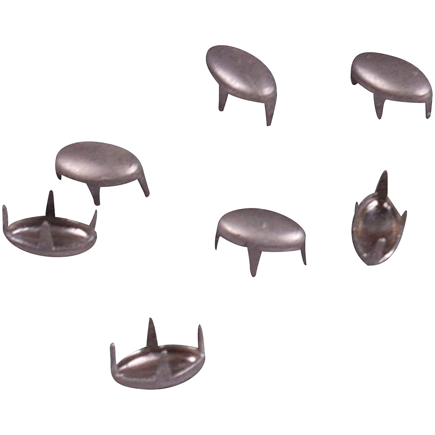 Porcelynne Vintage Silver Brushed Metal Oval Studs/Nailheads - 6mm - 100 Pieces