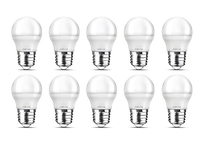 10 Pack bombilla LED G45, E27, 470 lúmenes, 5 W, 6500 K