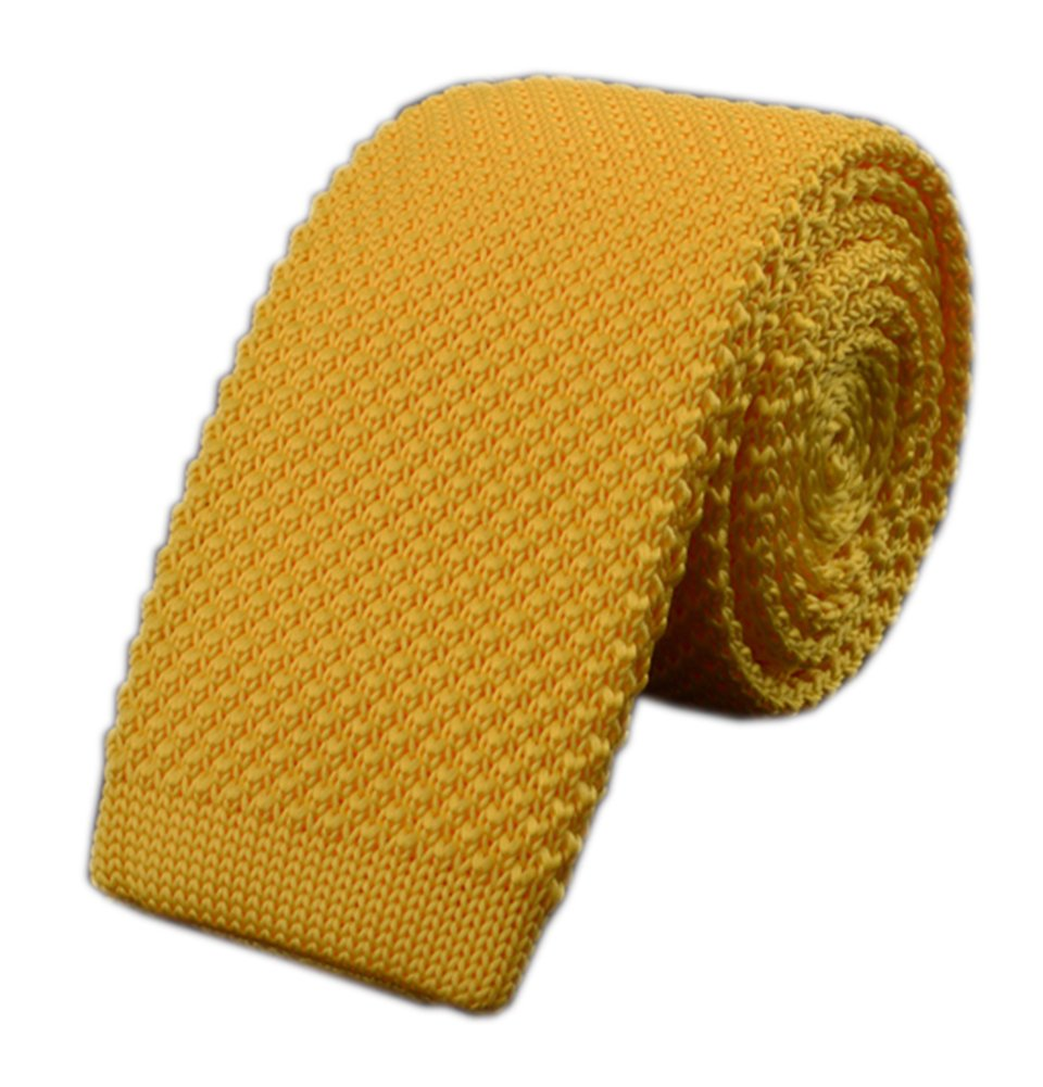 Mens Bright Yellow Knit Ties Vintage Woven Casual 2'' Handmade Necktie for Gifts