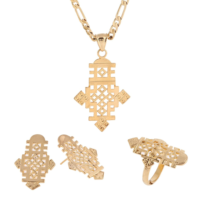 Amazoncom Ethiopian Cross Pendant Earring Ring Necklace Set 24k