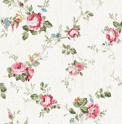 Wallpaper Designer Floral (Wallpaper Designer Victorian Floral Vine Cottage Roses Faux Crackle Background)