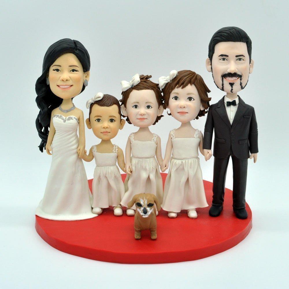 Wedding Bee DIY Bobble Heads and Pet Funny Cartoon Figure,Wedding Cake Topper Family Cake Topper Spouses and Child Topper,Family Cake Topper
