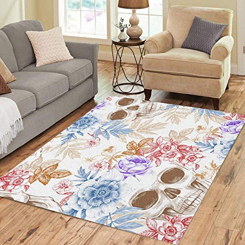 Exotica Collection (Semtomn Area Rug 2' X 3' Wreaths of Garden Flowers and Skulls Roses Peonies Retro Home Decor Collection Floor Rugs Carpet for Living Room Bedroom Dining Room)