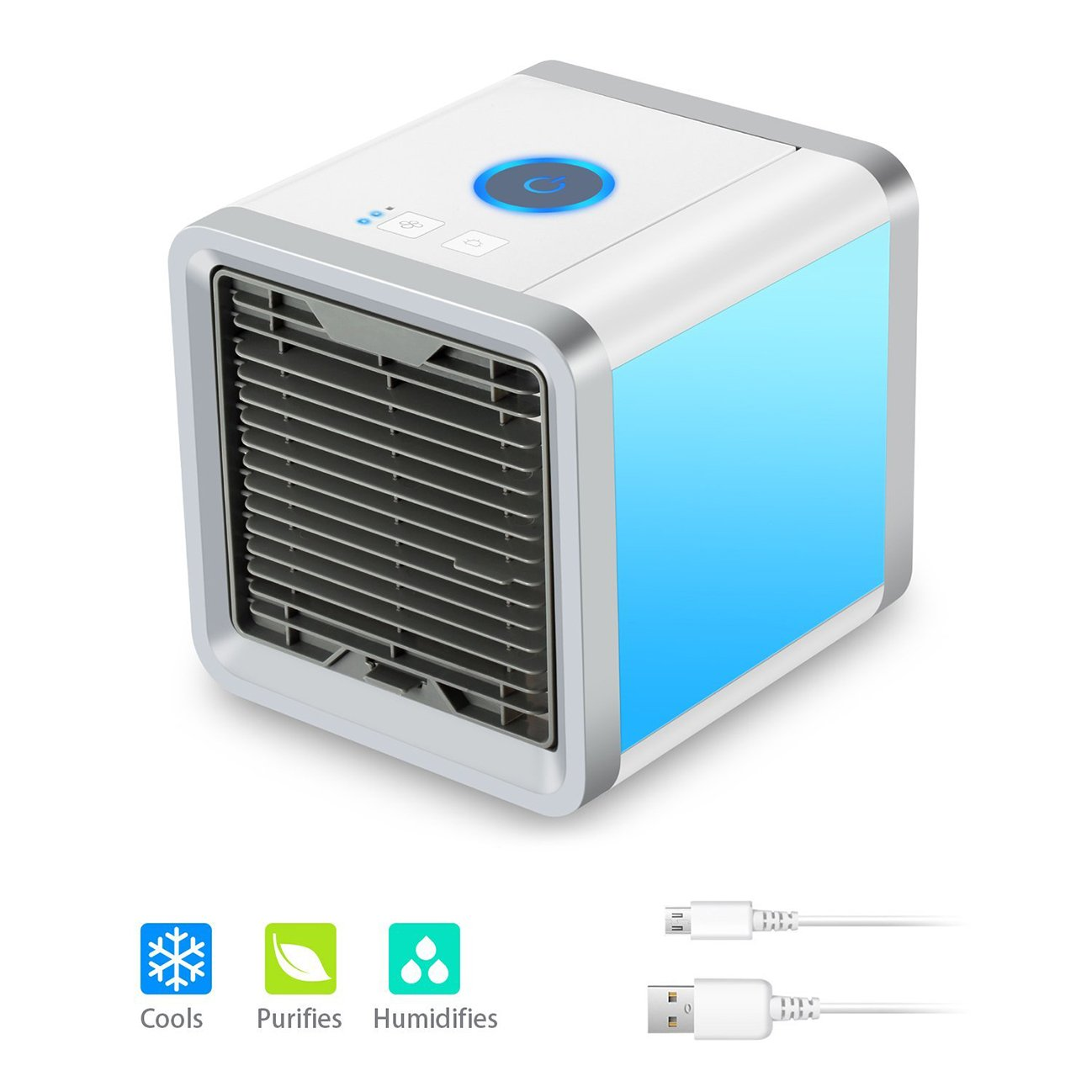 Quner Mini Air Conditioner with USB Portable Air Cooler Mobile Cooling Unit Air Cooler with water cooling for Office Table Car Bedroom Kids Room (3 Wind Speed - 7 Mood Lights)