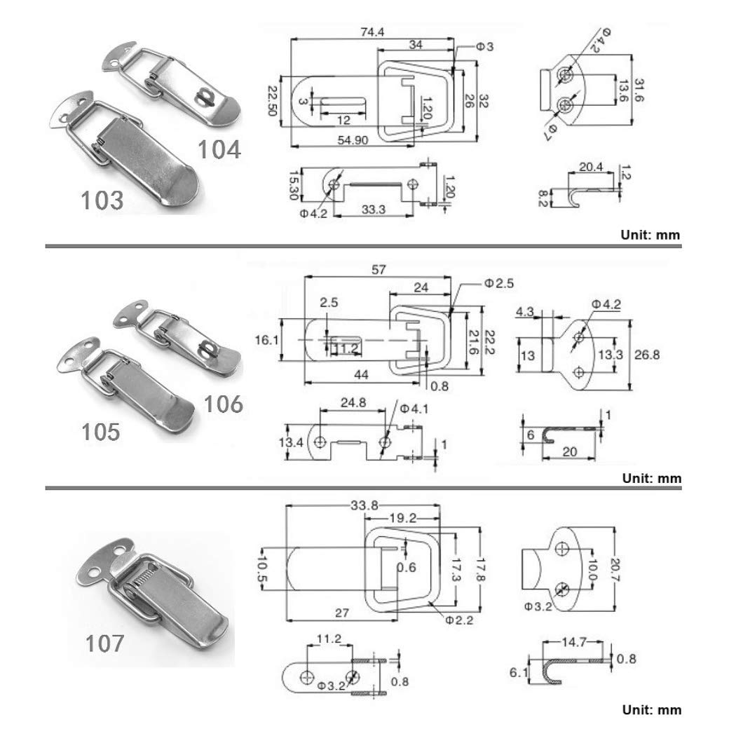 LimiFas 4PCS Door Window Furniture Hardware-Spring Loaded Toggle Latches Hasp Stainless Steel Cabinet Box Lock Hasps Sty01 SF001