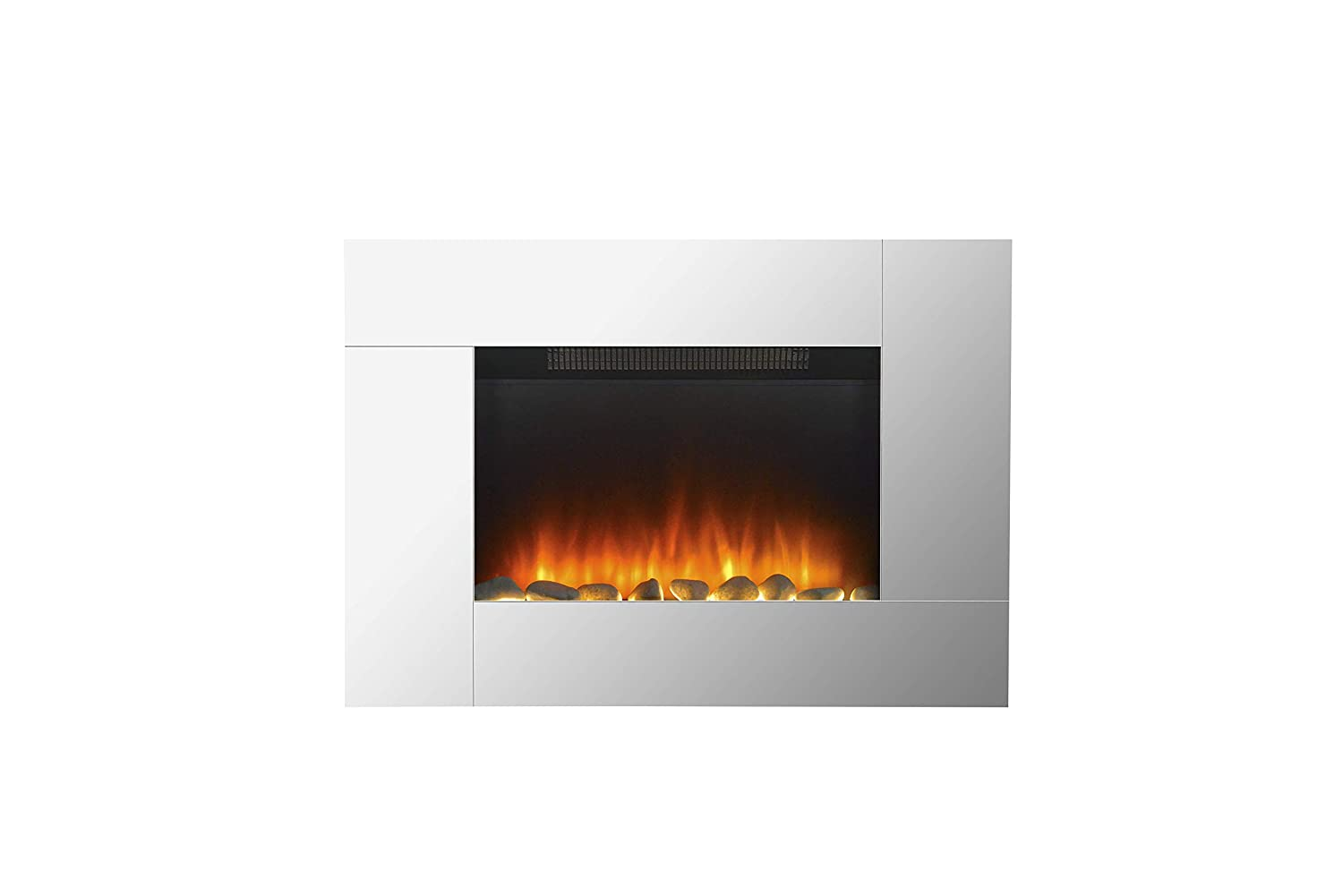 GLOWMASTER Electric Wall Fire Fireplace Mounted Stylish Mirror Glass Flicker Flame Heater GUARANTEED4LESS AGP1276-CHESTER