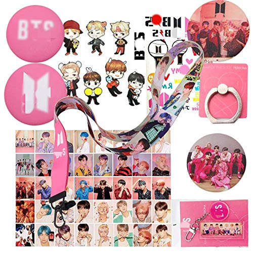 BTS Gifts Set for Army Map of The Soul Persona Gift Kits - 40 pcs BTS Lomo Cards, 4 BTS Button Pins, 1 BTS Phone Ring Holder,1 BTS Keychain,1 BTS Lanyard,1 BTS Cartoon Sticker,1 BTS Tattoo Sticker