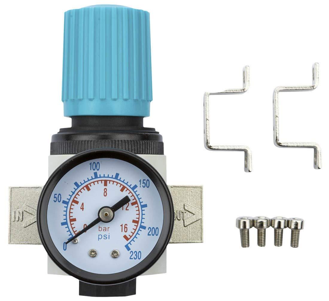 B. Rasche e.K. Druckluft Druckminderer Druckregler 1/4 Zoll IG mit 16 Bar Manometer fü r Kompressor