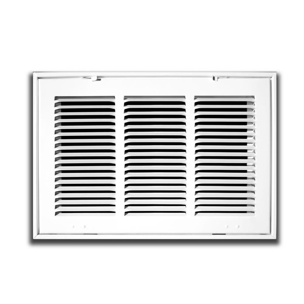 24'' X 12 Steel Return Air Filter Grille for 1'' Filter - Fixed Hinged - ceiling Recommended - HVAC DUCT COVER - Flat Stamped Face - White [Outer Dimensions: 26.5''w X 14.5''h]