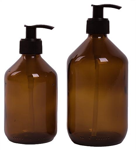Lifestyle Lover 2 Unidades Dispensador de jabón de Color marrón Cristal, ámbar Colores para jabón