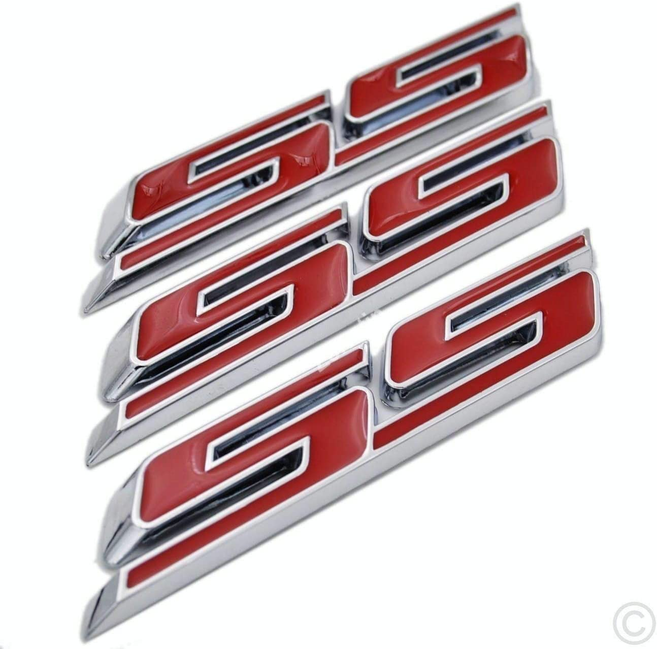 3x SS Letter Grille Fender Trunk Emblem Badge Replacement for Camaro Impala 2010-2015 Red