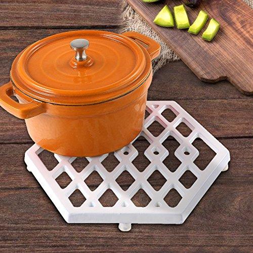 - Hexagon Enamel Cast Iron Trivets White Metal Trivets for Kitchen Dining