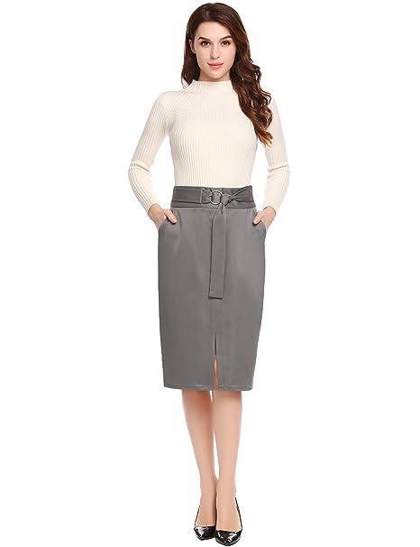 2897d645a Zeagoo Women's Below The Knee Pencil Skirt for Office Wear at Amazon ...