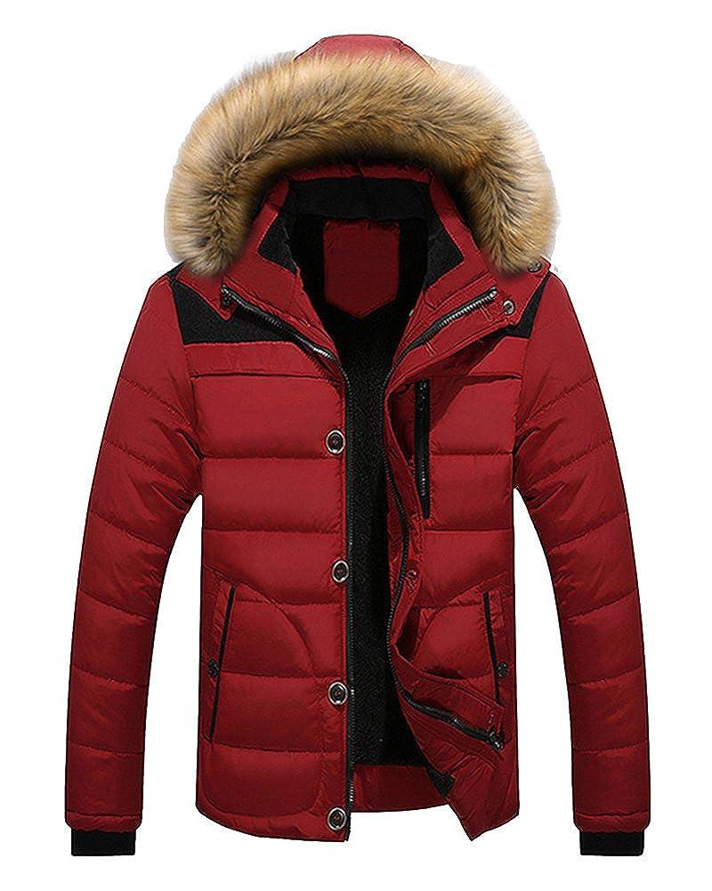 Men's Winter Warm Jacket Hooded Parka Outwear Coat With Fur Hood