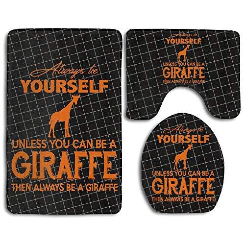 b60e0b770bad huachuangxinlHUQ Always Be Yourself Unless You Can Be A Giraffe Fashion  Bath Mat Set Bathroom Carpet Rug Non-Slip 3 Piece Bath Mat Set -