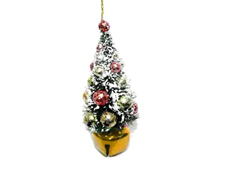180 degrees topiary christmas tree ornament with colored jingle bell gold - Topiary Christmas Decorations