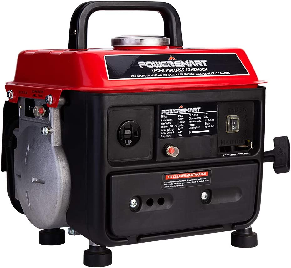 PowerSmart Generator 900 Running Watts 1000 Starting Watts, Gas Powered Portable Generator PS50A