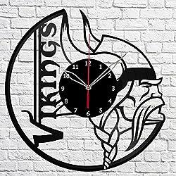 Handmade Minnesota Vikings Vinyl Record Wall Clock Fan Art Decor Original Gift Unique Decorative Vinyl Clock Black 12 (30 cm)