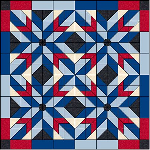 Quilt Kit Patriotic Barn Stars/Red, White and Blues by Material Maven