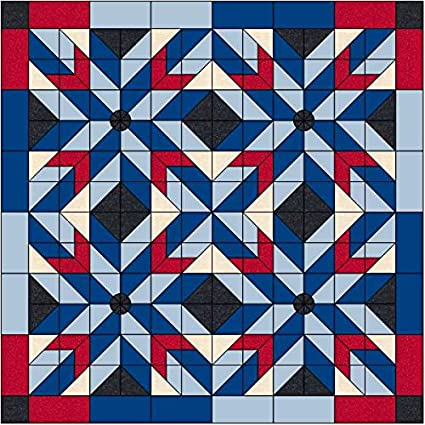 Amazoncom Quilt Kit Patriotic Barn Starsred White And Blues
