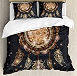 Gold Mandala Duvet Cover Set Queen Size by Ambesonne, Native American Dreamcatcher Motif Magic Feathers Boho Hippie, Decorative 3 Piece Bedding Set with 2 Pillow Shams, Charcoal Grey Gold Brown