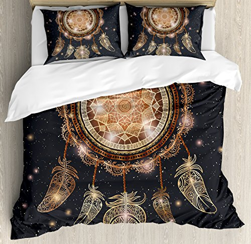 Ambesonne Mandala Duvet Cover Set King Size, Native American Dreamcatcher Motif Magic Feathers Hippie Design on Starry Backdrop Theme, A Decorative 3 Piece Bedding Set with 2 Pillow Shams, Multicolor