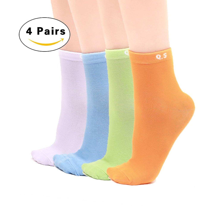 QIAN SOU Women's Ankle Socks Low Cut No Show Casual Cotton Socks 4 pack (Shoe Size: 6 - 12 Sock Size: 5-9)