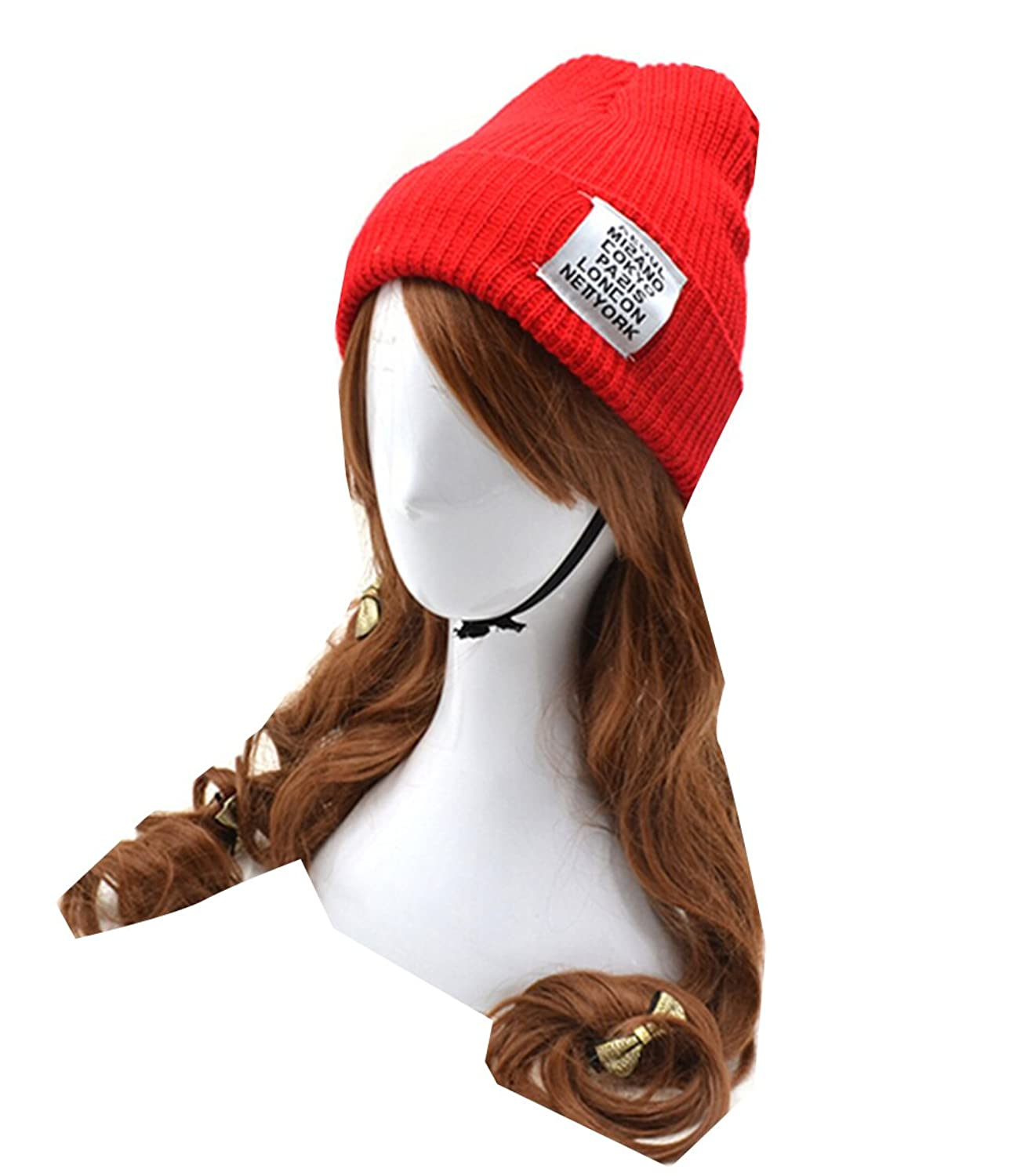 Km Unisex Fashion Autumn and Winter Letter Thicken Hat Warmth Knitted Cap