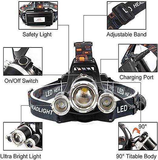 Linterna Frontal Luz Ultravioleta 395-400nm Linternas Frontales Violeta Negra Zoom Capaz para Scorpions Fugas de Aceite de HVAC de Autom/óviles WESLITE Linterna Frontal UV Recargable Pesca